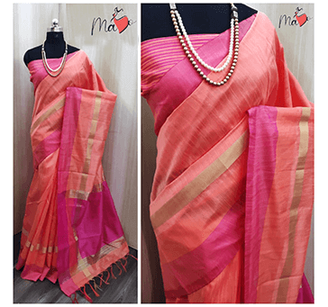 Women Khadi Cotton Saree (Pink with Golden)