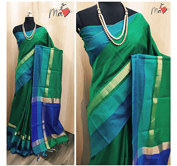 Woomen Khadi Cotton Saree (Green)