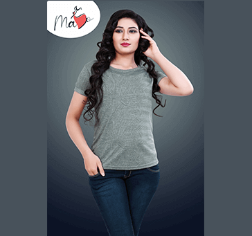 Women Top grey with print