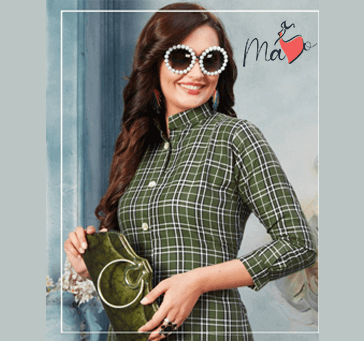 Women Green Checked Dress