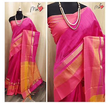 Women Khadi Cotton Saree (Pink)