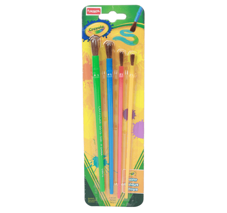 Crayola Arts & Crafts Brushes (Green Blue Pink Yellow)