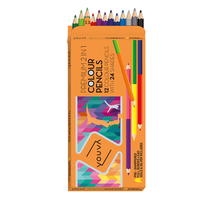 Youva Color Pencils 2 in 1 (12 Pieces)